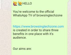 WhatsApp TV welcome message sample