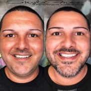 Before and after microblading on a male by Bliss Beauty & Brow Boutique