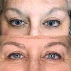 Before and after microblading on older skin by Bliss Beauty & Brow Boutique