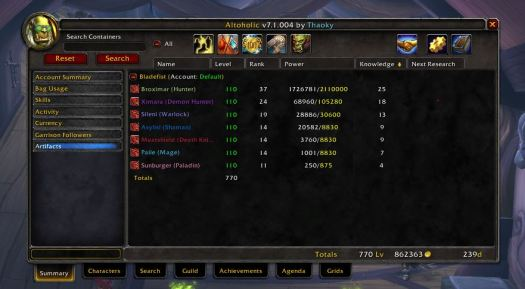 Alt Management Warcraft Altoholic