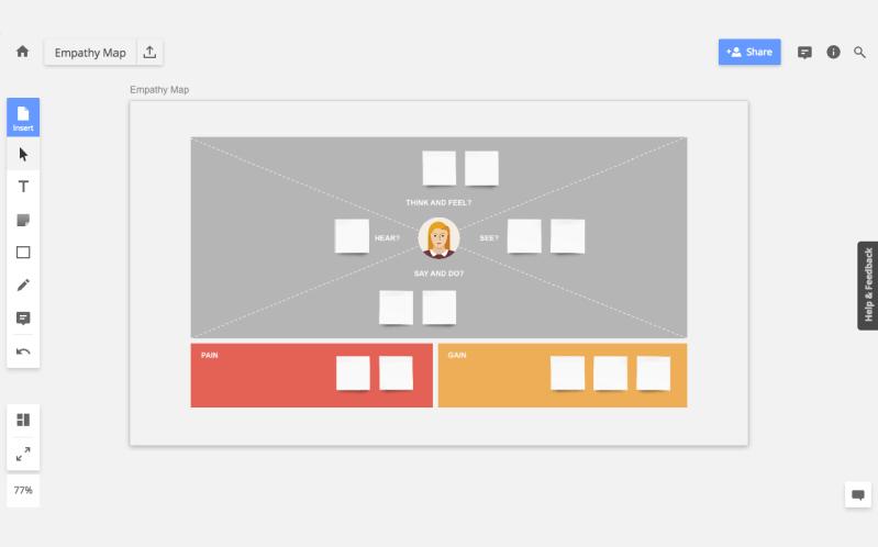 Mapa de empatia no Realtime Board