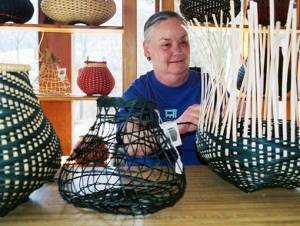 Billie Ruth Sudduth weaves baskets in her studio
