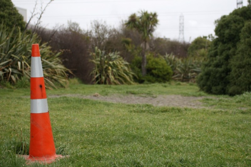 cone in the middle of path