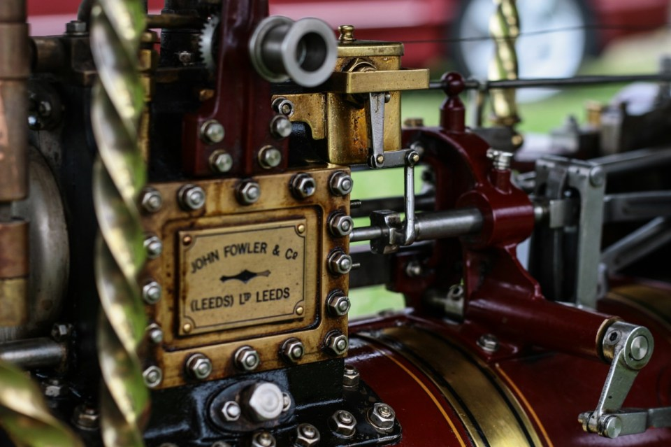 freshly oiled engine off a miniature traction engine