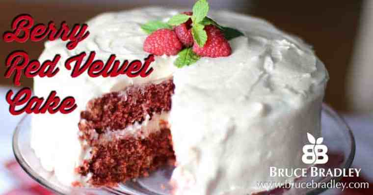 Bruce Bradley's Berry Red Velvet Cake recipe contains no artificial colors and uses raspberries and cocoa to give this dessert a wonderfully delicious, fresh taste!