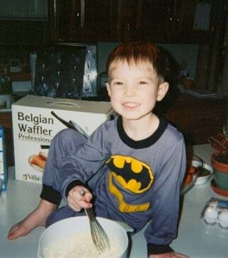 Cooking waffles with my son, Ben, when he was just a little guy!