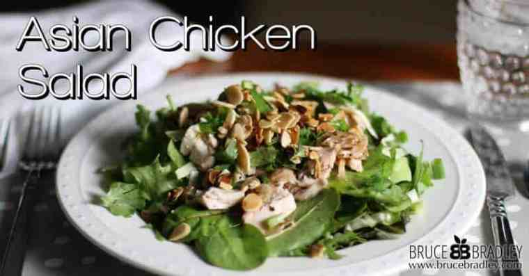 Bruce Bradley's delicious blend of salad greens, cilantro, green onions, and almonds makes this salad really pop!