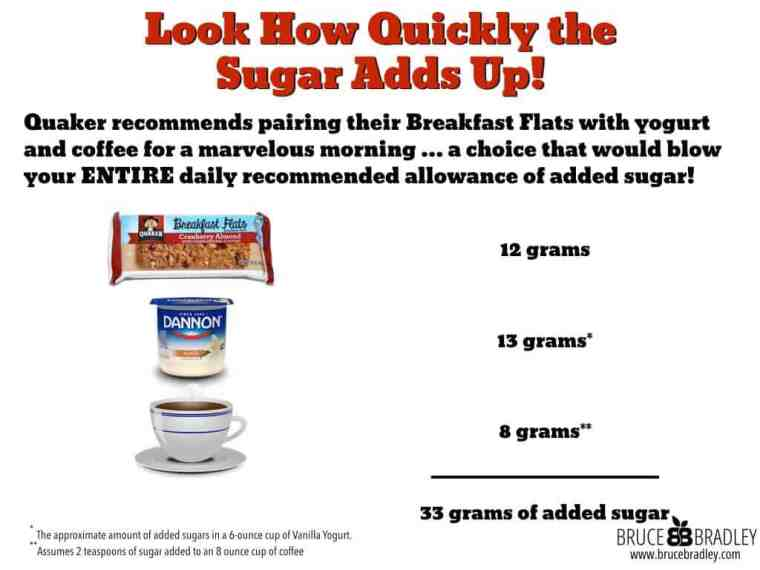 Quaker recommends pairing their Breakfast Flats with yogurt and coffee for a marvelous morning … a choice that would blow your entire daily recommended allowance of added sugar!