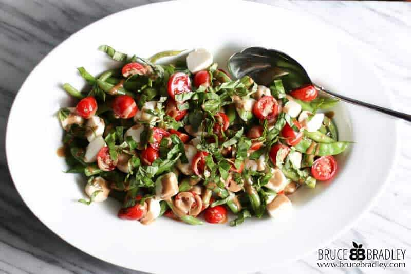 ... salad made with green beans, tomatoes, fresh mozzarella, basil, and a