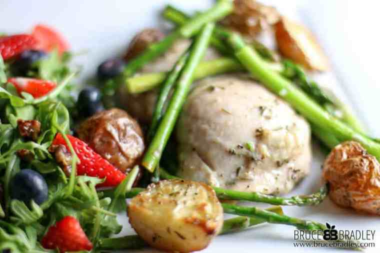 This Rosemary Chicken with Roasted Potatoes and Asparagus recipe is an easy, one-pan dinner that tastes like you spent all day in the kitchen!