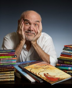 Bruce Coville and His Books - photo by Chuck Wainwright