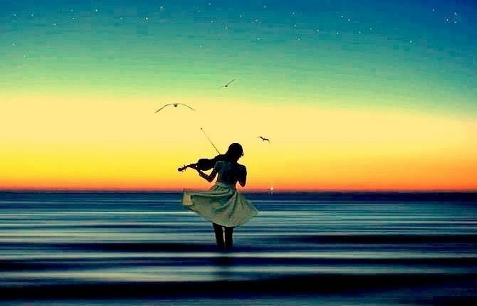 sunset ocean violin