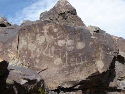 Coso rock art district, USA, engravings of multiple bags. (Image credit: Stephen Bodio)