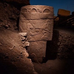 Pillar 43 at Gobekli Tepe prominently depicts birds, scorpion, serpents and bags among other symbols. (Image source: Vincent J. Musi)