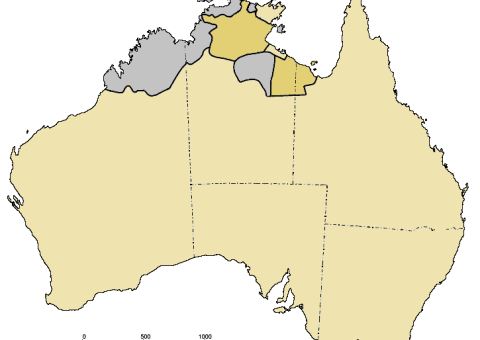 Pama-Nyungan languages are represented by the sand colour, the mustard colour represents languages with possible relationship to Pama-Nyungan.