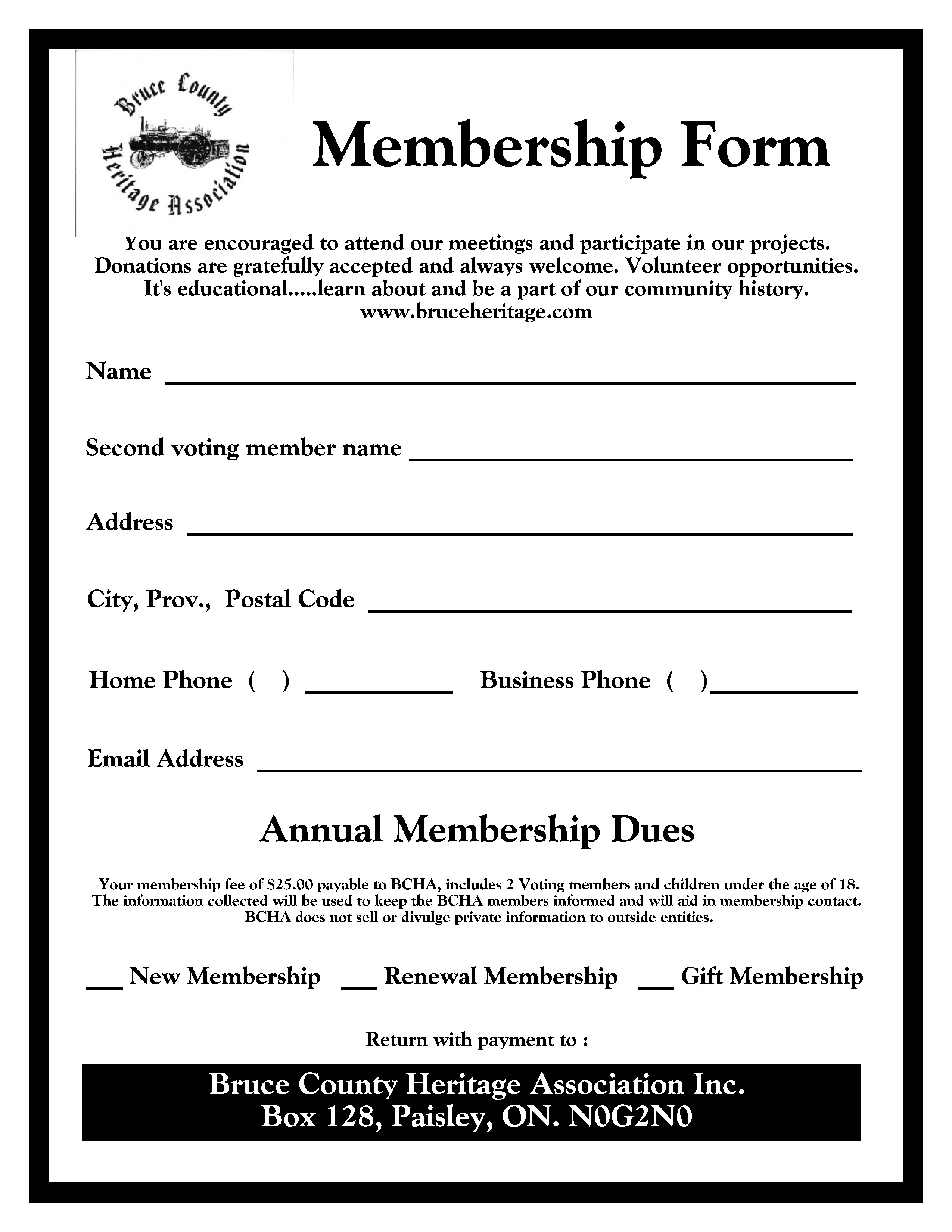 bcha membership form bruce county heritage association