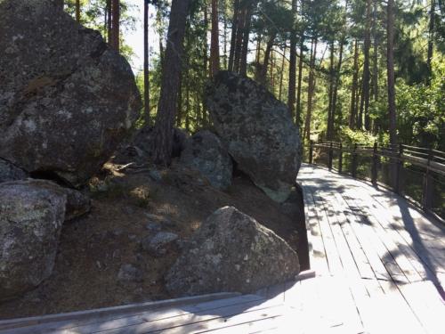Boardwalk and erratic boulders.