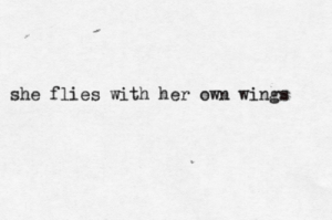 wings flies with her own