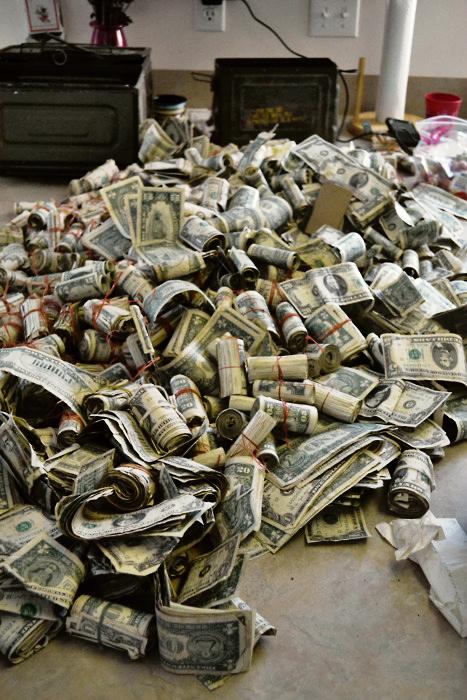 money stack of