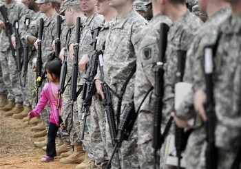 soldiers and girl