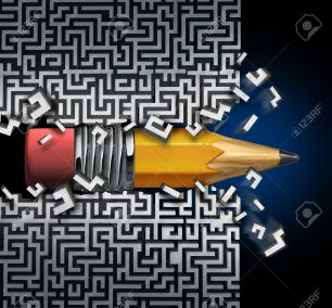 Innovative solution plan as a pencil trying to find way out of maze breaking through the labyrinth as a business concept and creative metaphor for strategy success and planning achievement.