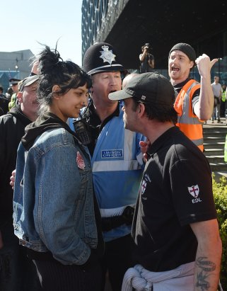"File photo dated 08/04/17 of Saffiyah Khan (left) staring down English Defence League (EDL) protester Ian Crossland during a demonstration in Birmingham, as she has said she was ""not scared in the slightest"" during the tense confrontation."