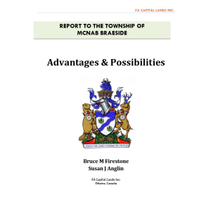 REPORT TO MCNAB BRAESIDE ABOUT ITS ECONOMIC FUTURE, Advantages & Possibilities