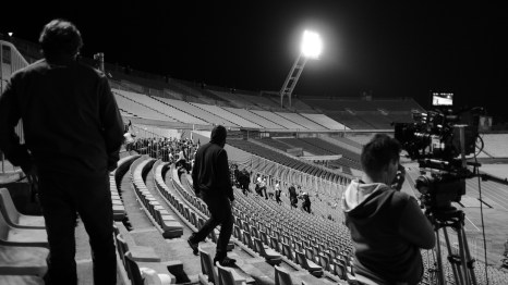 We alsways shoot in empty stadiums at night.