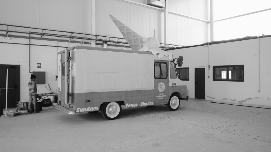 The ice cream truck before it was dressed properly