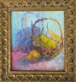 2016-08-art-still life-stebner-bosc pears-framed