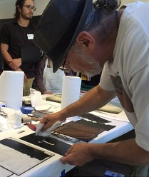 Bruce conducting monotype/monoprint demo at MoMA.