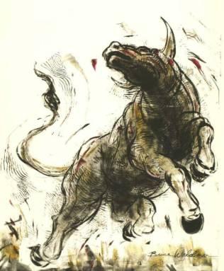 Raging Bull Monoprint © Bruce Waldman