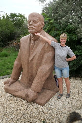 Buddyng up to Lenin at the Momento Park in Budapest