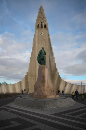 Leif Eriksen stands guard outside Hallgrimskirkja