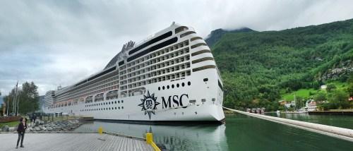 Cruise Ship docks at Flam