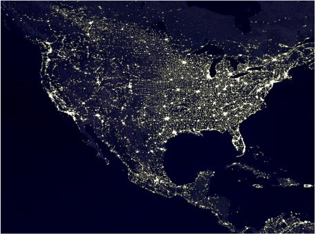 Norteamérica de noche en 1994. Datos del programa de satélites DMSP.