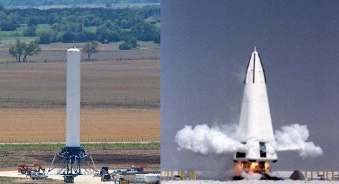Grasshopper de SpaceX (izquierda) y Delta Clipper de McDonnell-Douglas.