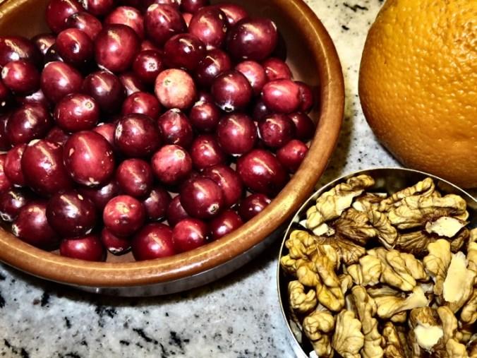 cranberries, walnuts and orange