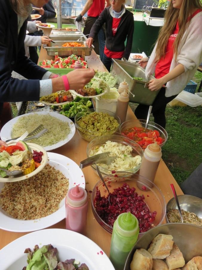 buffet at vegan BBQ, Fair festival