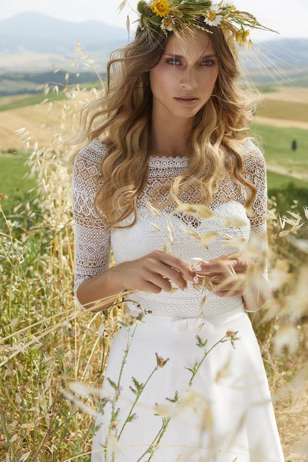 Bianco Evento_Campaign_dress HARMONIA, bolero E280