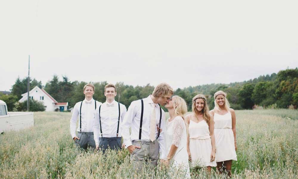 Bruid, bruidegom en getuigen