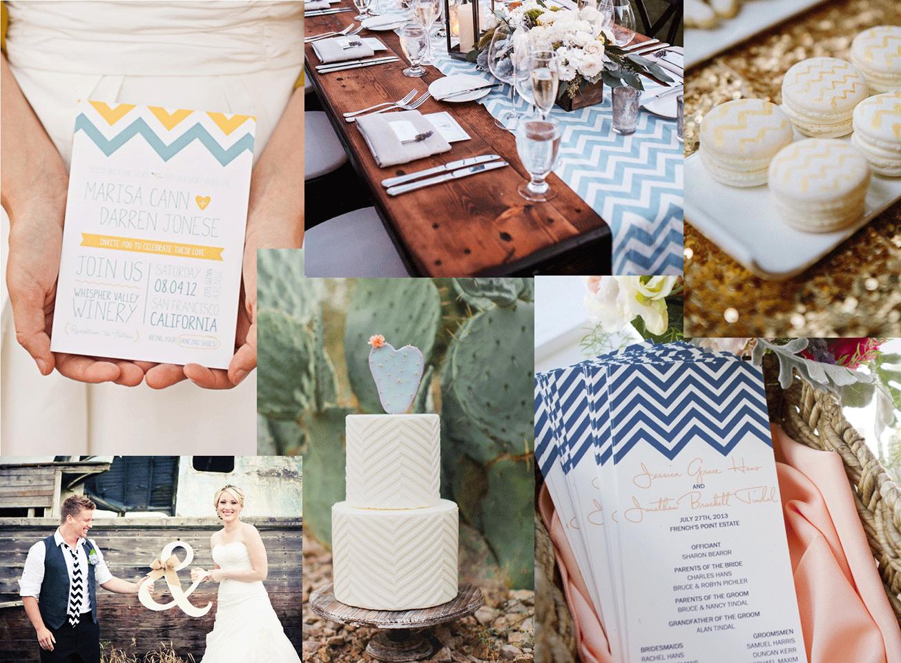 Allerlei bruiloft inspiratie met het chevron patroon