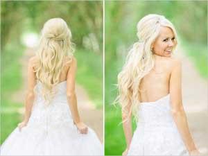Twee foto´s van bruid met half opgestoken haar