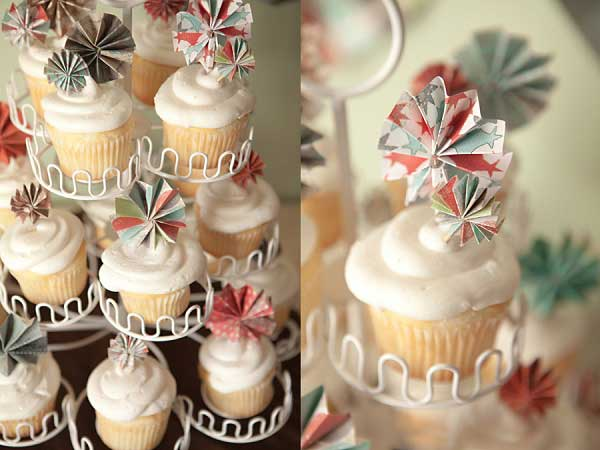 Mini pinwheels in cupcakes