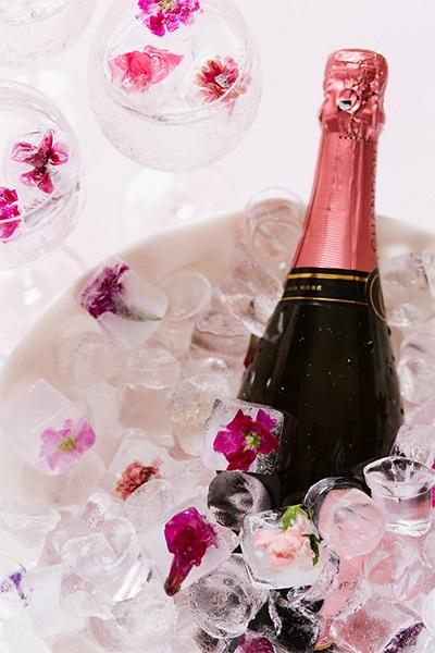 Champagne ijsblokjes met bloemen