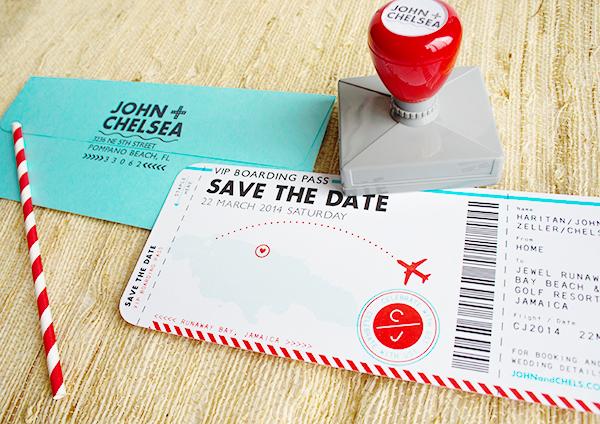 Vliegticket uitnodiging bruiloft