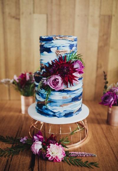 Bruidstaart blauw
