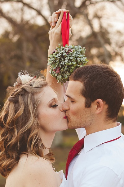 Kerst bruiloft mistletoe