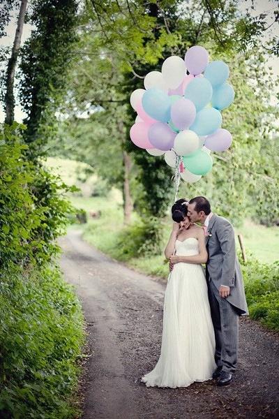 Ballonnen in pastelkleuren