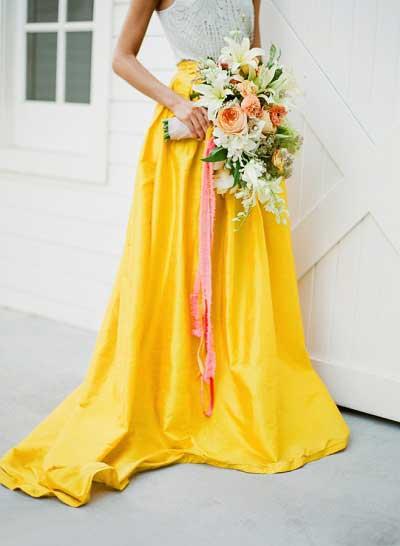 Gele trouwjurken
